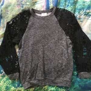UO Pins And Needles Lace Sleeve Sweater Sweatshirt